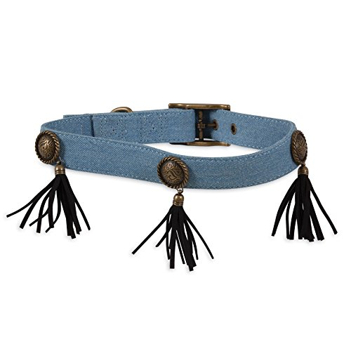 MuttNation Fueled by Miranda Lambert Denim Concho & Fringe Custom Fit Dog Collar, - Conchos Custom