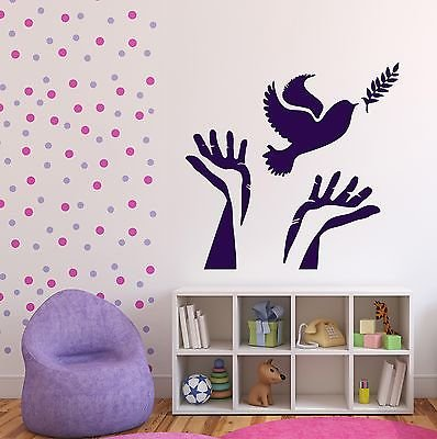 Wall Vinyl Sticker Dove Symbol of Peace Olive Branch Hands Decor n437