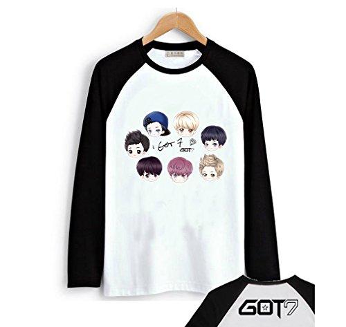 Fanstown-GOT7 Black Shoulder Member Cartoon Signature Long Sleeve Shirt Bambam Jackson Mark by Fanstown-GOT7