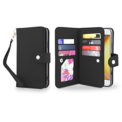 Gear Beast Flip Cover Dual Folio Case fits iPhone 8/7 Wallet Case Slim Protective PU Leather Case 7 Slot Card Holder Including ID Holder 2 Inner Pockets Stand Feature Wristlet for Men and Women