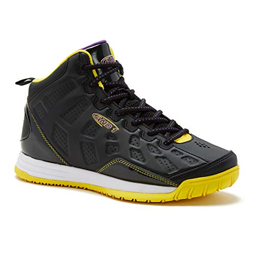 AND1 Kids Show Out Basketball Shoe, 4 M US Big Kid Black/Gold/Purple