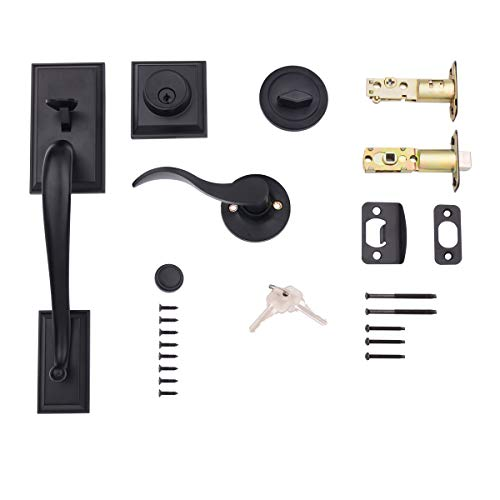 AmazonBasics Modern Door Handle and Deadbolt Lock Set, Right-Hand Wave Door Lever, Matte Black