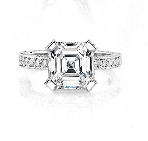 Ladies 14kt white gold pave diamond engagement ring with 2ct Asscher Cut White Sapphire and 1 carat of G-VS2 diamonds (Asscher Vs2 Ring)