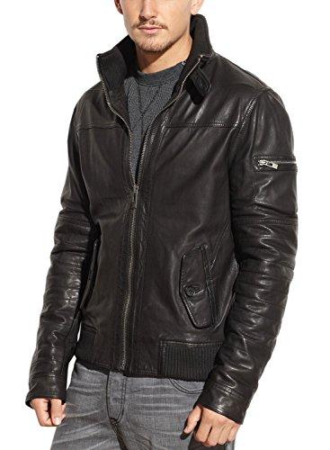 ROGUE Men's New Zealand Lamb Leather Avaitor Jacket, Black, L