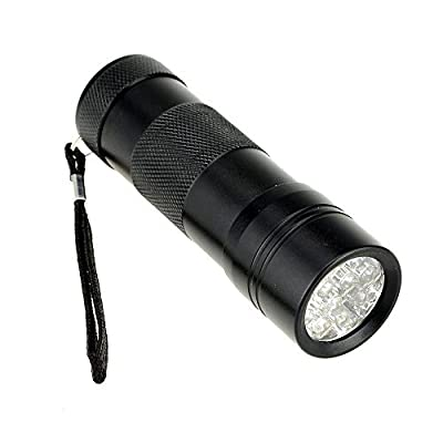 LanLan Black Ultra Violet 9 LED Blacklight Inspection Flashlight for Scorpion Hunting, Security Checks, Hotel Inspections