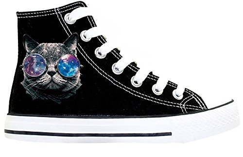 Womens Teen-Girls Cute Cool Cat Print High-Top Flat Canvas Shoes Fashion Sneakers Plus Size (6, Black) (Cool High Tops Shoes)