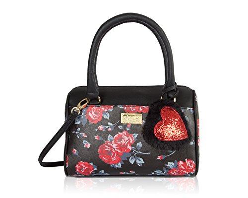 Luv Betsey Johnson Floral Harlet Medium Crossbody Satchel Bag - Red