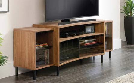 (Tv Stand For 65 Inch Tv - Walnut Wood Curved Metal Base with Tempered Smoked Glass Door - Display Your TV in Style)