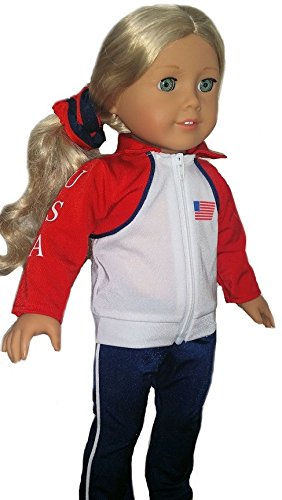 [Doll Gymnastics Clothes for American Girl Outfit Includes Jacket Yoga Pants Olympic Team Track Uniform (2 Piece] (Figure Skating Halloween Costumes)