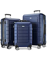 Luggage Sets Expandable PC+ABS Durable Suitcase Double Wheels TSA Lock Blue