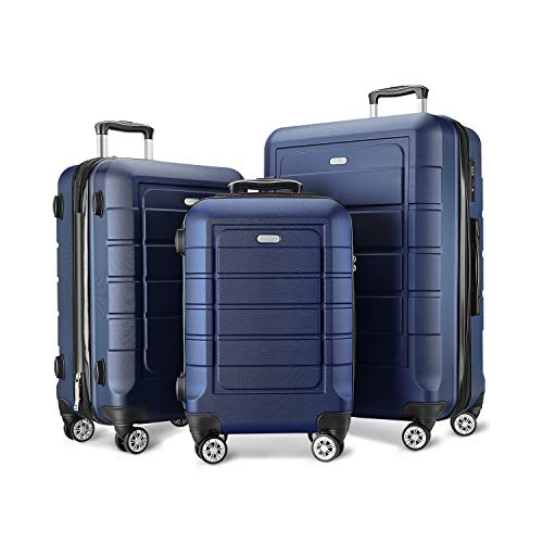 (SHOWKOO Luggage Sets Expandable PC+ABS Durable Suitcase Double Wheels TSA Lock Blue)