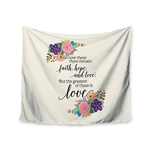 KESS InHouse Noonday Design''Faith, Hope, & Love'' Beige Multicolor Wall Tapestry, 68'' x 80'' by Kess InHouse