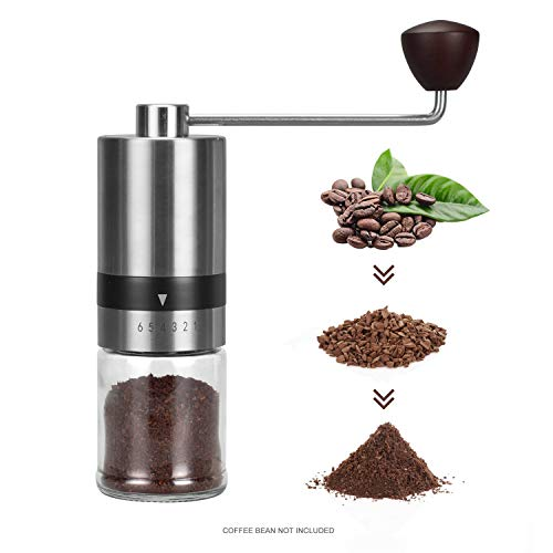 Manual Coffee Grinder Burr,(6 Adjustable Setting Stainless Steel Burr Grinder)Steel Hand Grinder Light Travel Burr Grinder for Coffee Brew for Office,Camping,Travel Precision Coffee Bean Mill for Espresso Hand Grinder