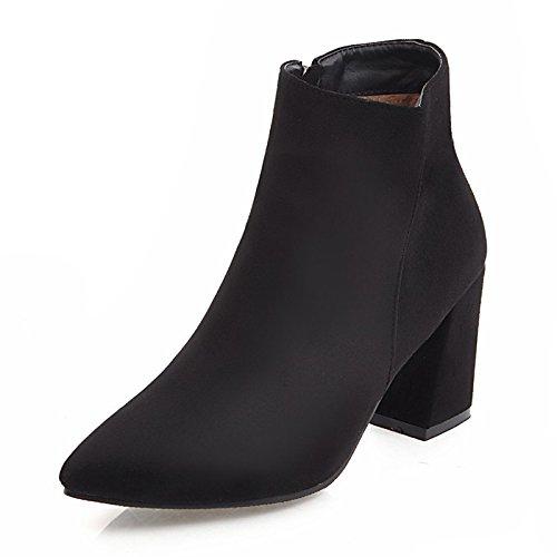 HSXZ parte talón Stiletto raje Null otoño botines de botas mujer por Botines moda Toe de Zapatos botas noche señaló invierno polar Bota Black q7rUqpPw