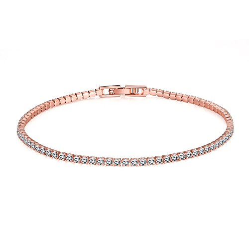 Rose Gold Pave - Star Jewelry Simple Style CZ Crystal Gold Plated Women Link Bracelet (rose gold color 18cm)