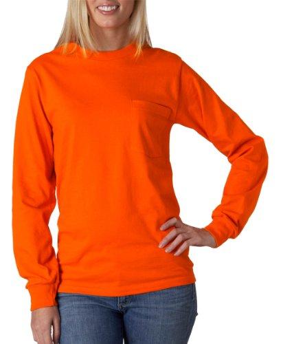 Gildan Adult Ultra CottonTM Long-Sleeve T-Shirt with Pocket 2410 - Safety (Safety Orange T-shirt)