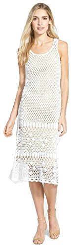 Boho-Chic Vacation & Fall Looks - Standard & Plus Size Styless - MICHAEL Michael Kors Women's Sleeveless Crocheted Sweater Dress White