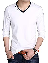 Men's V-Neck Casual Slim Fit Long/Short Sleeve Fashion T-Shirts Cotton Shirts