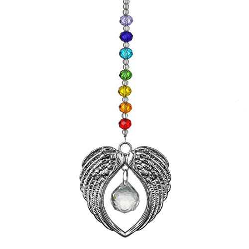 H&D Crystal Angel Wing Pendant with Crystal Ball Hangings Suncatcher for Home Window Decor ()