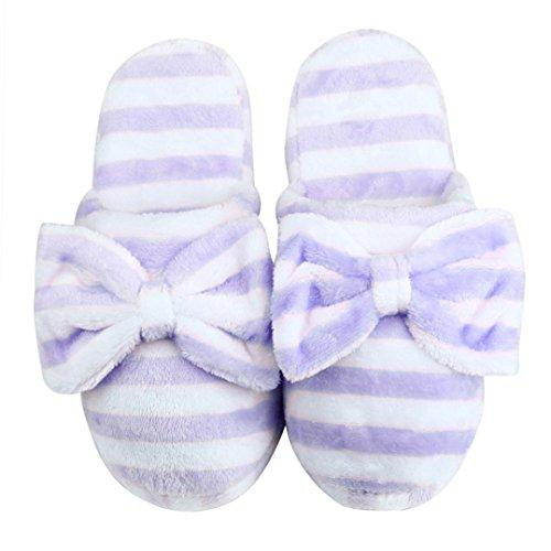 Tefamore Lovely Bear Hause Stock weiche Baumwolle-gepolsterte Hausschuhe Schuhe 36-40 Lila