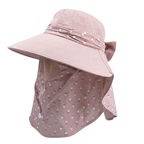 iPOGP Womens Summer Sun Hat Windproof Sun Protection Sun Hat Riding Neck Cap Wide Brim Farmer Hat Fashion (Red,Free)