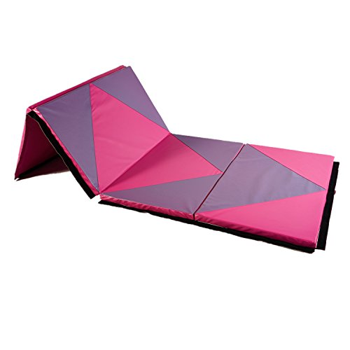 "Wonlink Gymnastic Mat Durable Folding Gymnastic Mat Tumbling Exercise Yoga Fitness PU Leather for Kids Ladies (pink and purple 2, 4'x8'x2"")"