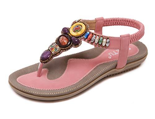Women's Beaded Dress Sandal Gladiator Flat Wedding Sandals Comfortable Diamond Crystal Shoes Hippie Chic Bohemian Banquet Sandals ()