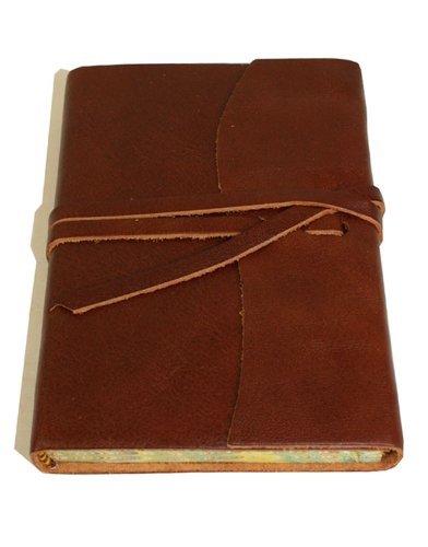 Roma Luxury Brown Italian Leather Journal with Marble Effect Edged Paper - 9 x - Italian Leather Edged Journal