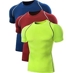 Neleus Men's 3 Pack Dry Fit Sport Compression Shirt,801,Red,Black,Grey,US XL,EU 2XL