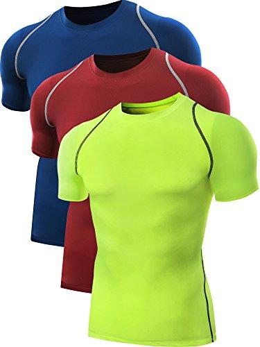 Neleus Men's Quick Dry Sport Compression Athletic Shirt Pack Of 3