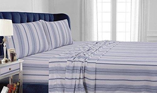 (Tribeca Living 200 GSM Stripe Printed Deep Pocket Flannel Sheet Set, Queen, Blue)