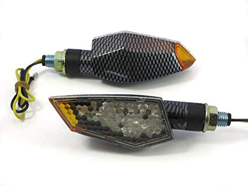 Pair of Quality LED Motorcycle Indicators E-Marked Streetfighter Carbon Look