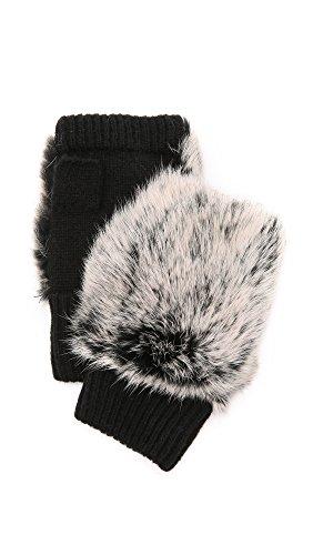Adrienne Landau Women's Knit Fingerless Fur Gloves, Black, One Size ()