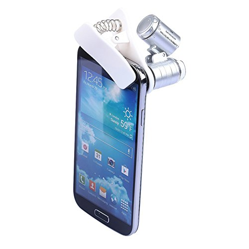 Leezo 60 X Optical Zoom Phone Microscope Lens Magnifying Camera 3 LEDs Clip For All Smartphones iphone Sumgung Android