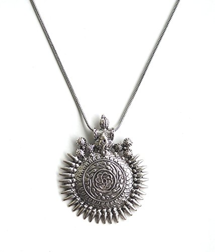 Boho Oxidized Chain Ganesha Sundial Pendant Indian Necklace Jewelry for Girls and Women ()