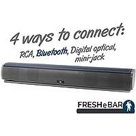 Bluetooth Leather Television Sound Bar - FRESHeBAR TV Soundbar - 24 inch, 90 Watt with Built-in Subwoofer - Grey...