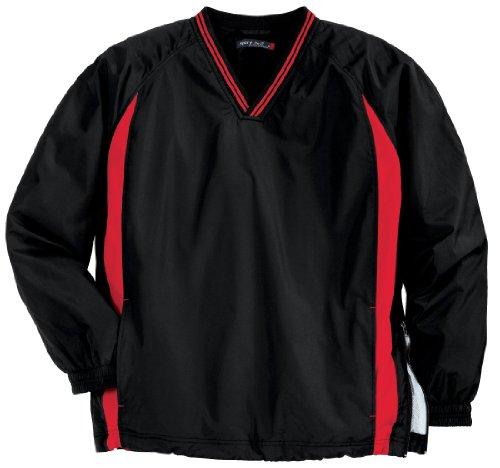 Sport-Tek JST62 Tipped V-Neck Raglan Wind Shirt,Large,Black / Red