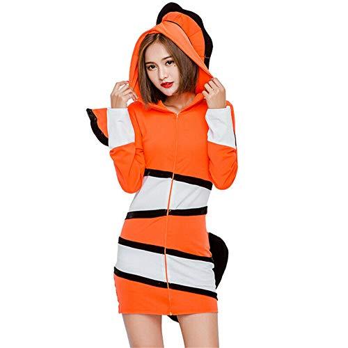 Adult Clownfish Costumes - Women Ocean Amphiprioninae Clownfish Uniform Suit