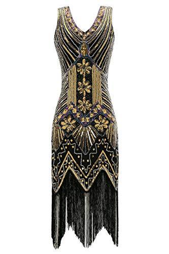 Metme Women's 1920s V Neck Beaded Fringed Gatsby Theme Flapper Dress for Prom Black