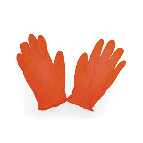 Camco Durable All Purpose RV and Camper Disposable Sanitation Gloves - Will Grip in Wet or Dry Conditions | Latex and Powder Free |Orange  Nitrile Gloves - 30 Pack (40286)