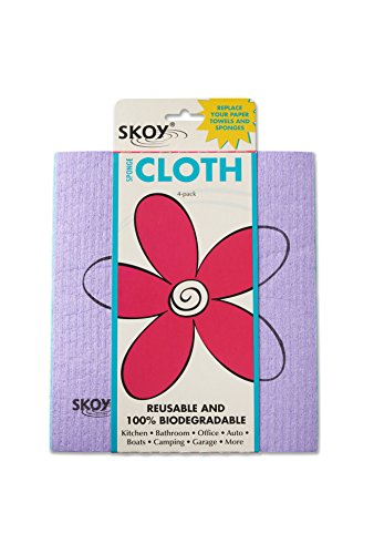Rags Reusable Cotton Wiping Cloths - Skoy Eco-Friendly Cleaning Cloth (4-Pack: Assorted
