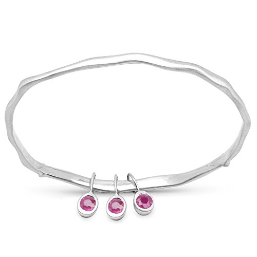 LoveHuang 0.81 Carats Genuine Ruby Minimalist Bangle Solid .925 Sterling Silver With Rhodium Plating, Matte Finish (Bangles Silver Ruby)