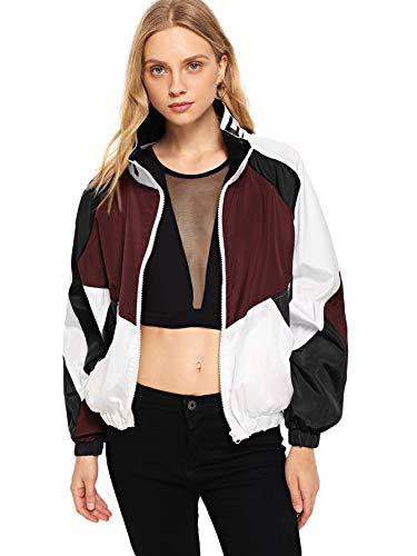 SweatyRocks Women's Lightweight Windbreaker Patchwork Zipper Sport Jacket Coat Outerwear Red M