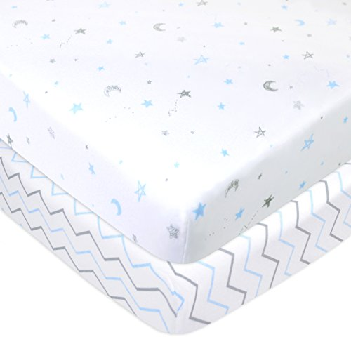(American Baby Company 2 Pack Printed 100% Natural Cotton Jersey Knit Fitted Pack N Play Playard Sheet,Blue Stars/Zigzag, Soft Breathable, for Boys and)
