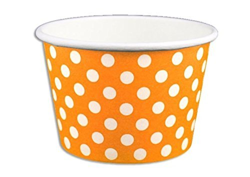 Orange Cream Cat - Black Cat Avenue Paper Ice Cream Cups, Polka Dot, Orange, 12 Ounce, 50 Count