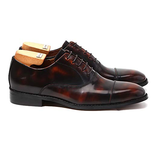 La Pour En Scolaire Mode Formelles Oxford Confort Brown Lacets Verni Chaussures Cuir Main Hommes À n8qwA8B15