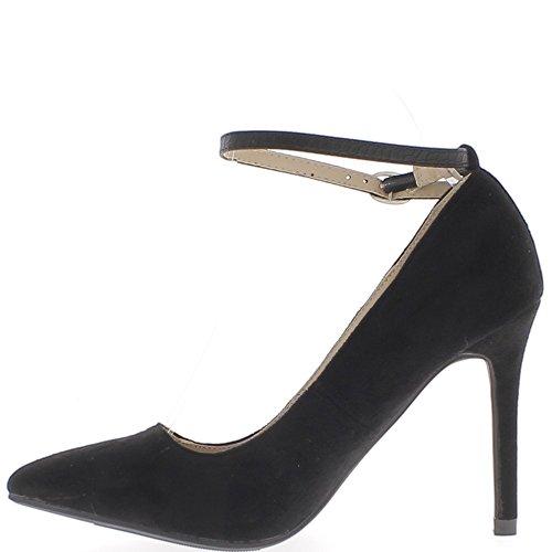 Afilados zapatos negros con tacones fina 10cm ante y aspecto de novia delgada
