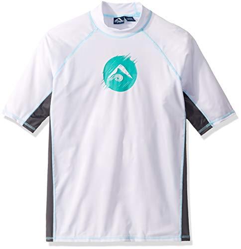 Kanu Surf Men's Mercury UPF 50+ Short Sleeve Sun Protective Rashguard Swim Shirt, Dolphin White, XX-Large (Swimming Trunks And Rash Guard)