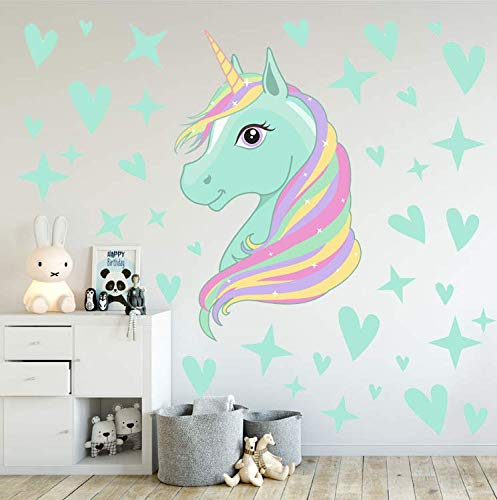 AIYANG Unicorn Wall Decals Stars Love Hearts Wall Stickers for Baby Girls Bedroom Playroom Decoration 7