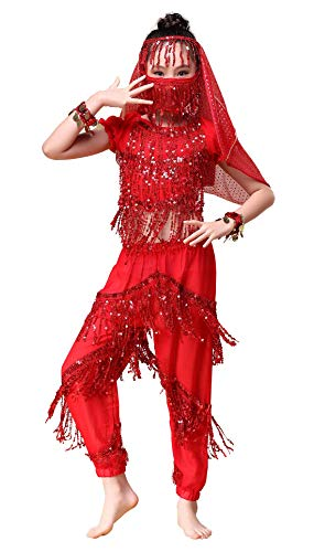 Happy Cherry Kid Girls Belly Dancing Outfits Shiny Sequins Dance Performance Costumes Soft Chiffon Dress-up Party Clothes]()